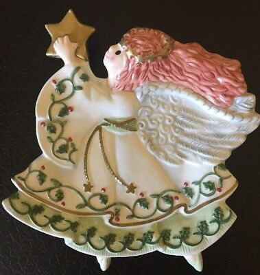 Fitz And Floyd Moonbeams Christmas Angel Canape Plate With Star