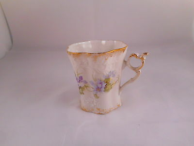 Dainty Demitasse Cup (No Saucer) Purple Flowers & Green Leaves Gold Trim Accents