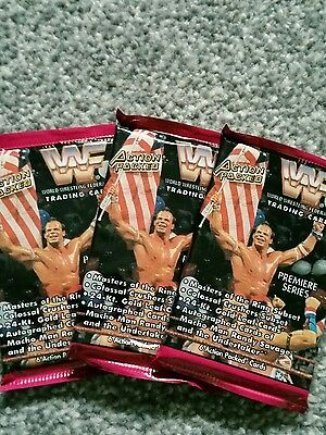 1994 wwf action packed trading cards unopened x3 packs and 6 loose cards mint