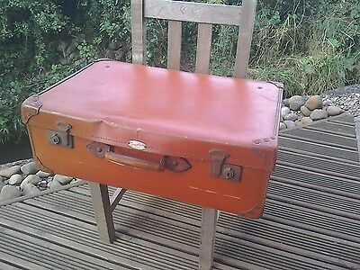 vintage suitcase leather handle and reinforced corners Spartan Cheney locks and