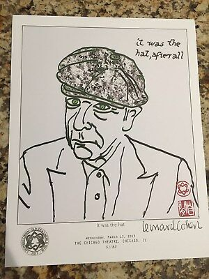 Leonard Cohen 2013 Old Ideas World Tour IT WAS THE HAT Lithograph NEW
