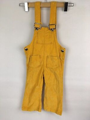Vintage Mustard Yellow Corduroy Boys Girls Kids Overalls 3T Childrens Pants