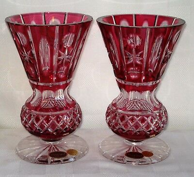 Pair Of Bohemia Crystal Vases (Czechoslovakia)