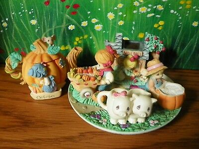 Precious Moments Country Lane Miniature Tea Party Lot Fall Harvest Oct 1999 1997