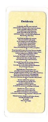 Bookmark - Desiderata - On Parchment Effect Paper & Laminated