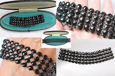 Fabulous Antique Victorian French Jet Black Choker Dog Collar Necklace