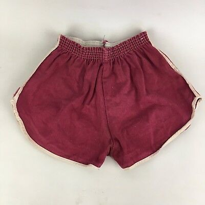 Vintage 70s 80s Shorty Gym Running Man Shorts Maroon White Stripe Surf 30-32 PE
