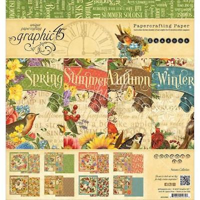 "Graphic 45 Double-Sided Paper Pad 8""x8"" 24pcs - Seasons"
