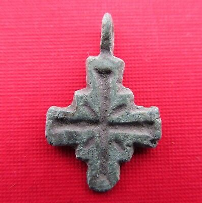 Ancient Viking Bronze Cross Pendant Kievan Rus.