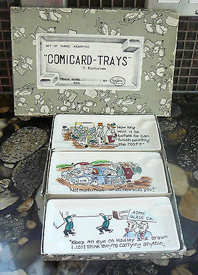 VINTAGE 3 NAPCO JAPAN COMICARD PORCELAIN TRAYS comic strips in original box