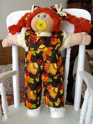 "HANDMADE Clothes for 16-18""Cabbage Patch Kids Dolls THANKSGIVING Ruffled Overall"