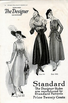 """1916 """"The Designer"""" Standard Patterns ad Clothing ad from LHJ --B -994"""