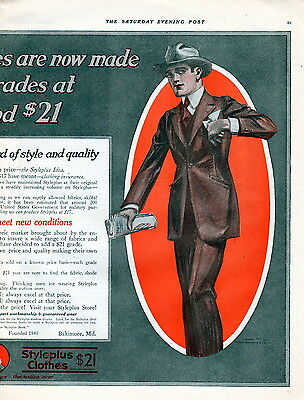 """1917 -Mens clothing ad --2 page centerfold -""""Styleplus Clothes"""" -362"""