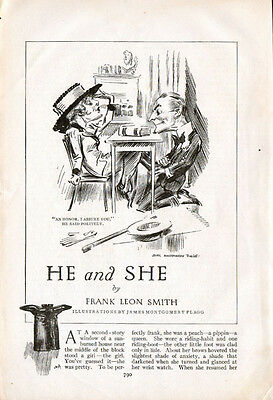"""1917 (Circa)Short Story  Illustrations By James Montgomery Flagg """"He & She"""" =813"""