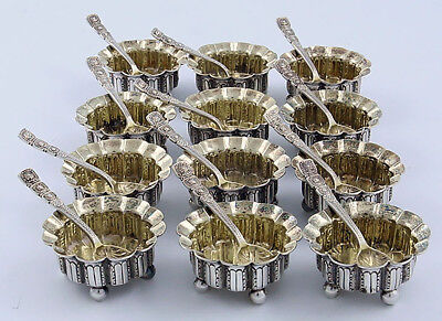 TIFFANY Sterling Set of 12 OPEN SALTS WITH Matching SPOONS