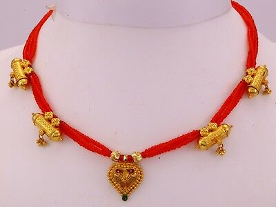 20K Antique Vintage Tribal Old Gold Pendant Necklace Choker Bellydance Jewelry