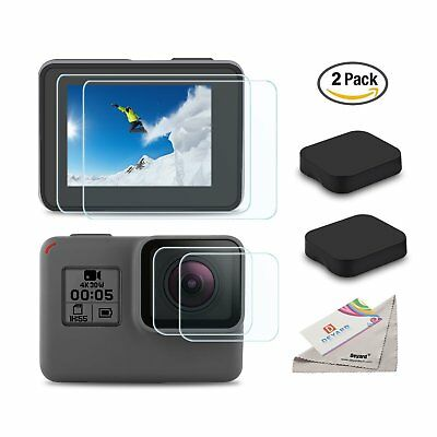 Ultra-Clear Tempered-Glass Screen & Lens Protector & Cap Cover for GoPro Hero 6