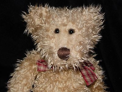 Russ Toffee Teddy Bear Soft Toy Beige Brown Comforter Red Check Ribbon Doudou