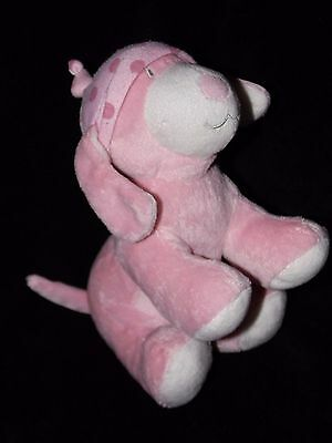 Chad Valley Puppy Dog Soft Toy Pink Polka Dot Hat Comforter Doudou