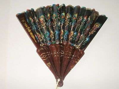 Rare Collectable Coloured Floral Hand Held Fan, Free UK Postage