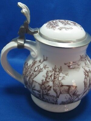 Royal Tettau Bayern Bavaria German Ceramic Beer Stein/Container Pewter Lid DEER