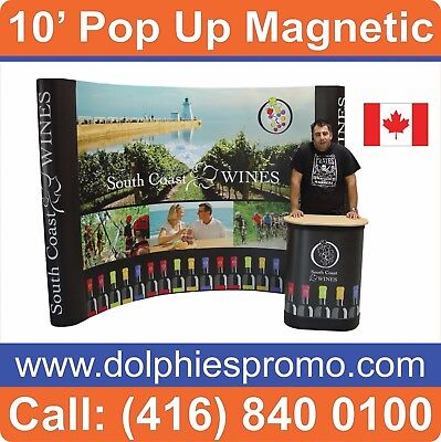 Trade Show 10' Pop Up Magnetic Booth Stand PACKAGE + GRAPHICS + PODIUM + LIGHTS