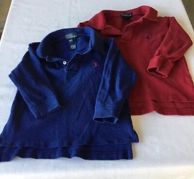 Lot of 2 POLO BY RALPH LAUREN Boys Polo Shirt Collar Size 2 / 2T Red Blue