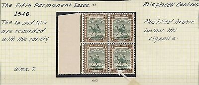 Sudan 1948 Kgvi Misplaced Centres 4M Sg99 Blk Of 4 Mnh
