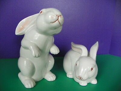 Vintage Fitz and Floyd White Easter Rabbits 1975