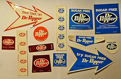 Vintage Dr Pepper and Sugar Free DP Sticker Lot - Late 1970's, Early 1980's - C