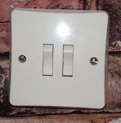 2 Gang 2x 2-Way Restored Vintage Ivorine Bakelite Flush Light Switch MK (Rocker)