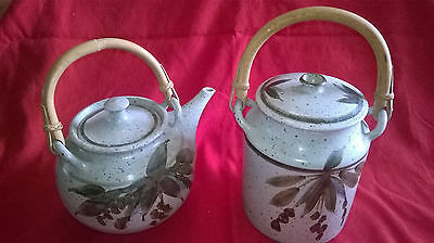 Studio Pottery Teapot and Biscuit Barrel