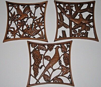 Vintage Set of 3 Burwood Products Bird Wall Hangings Plaques