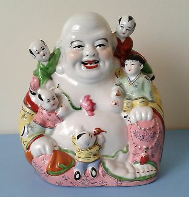 Vintage Chinese Famille Rose Colors Porcelain Sitting Buddha With 5 Children
