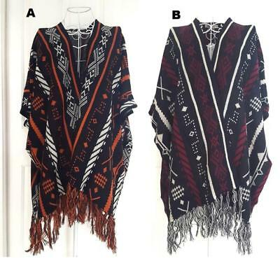 CARDIGAN Sleeveless PONCHO Vest CAPE Coat Fringed WRAP Winter WARM Blanket New
