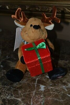 Christmas Moose Reindeer w Light Up Cheeks Music Deck the Halls Vintage New