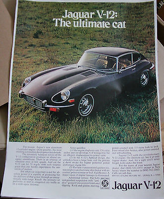 Jaguar E-Type V12 S3 Advertising Poster Print A3