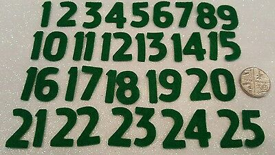 Green Felt Fabric Advent Numbers 1 to 25 Premium 40% Wool Blend Felt.