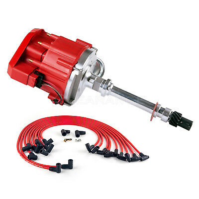 New SBC Chevy 350 HEI Distributor with Plug Wires 90* Complete Kit Red Out