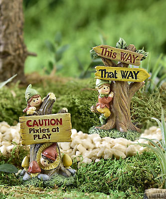 Miniature Dollhouse FAIRY GARDEN - Forest Pixie Signs - Set of 2 - Accessories
