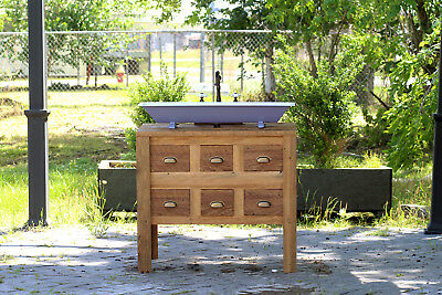 "36"" Reclaimed Wood Bath Vanity Cabinet Steel Trough Sink Apothecary Chest"