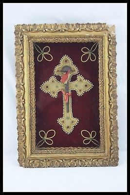 † 19Th Dnjc Reliquary Holy Nail 1 Relic Framed Wax Seal Nun Art Work Visitation†
