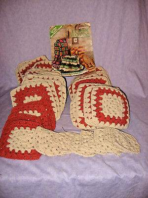 "Lot of 50+ Lg Granny Squares 7"" Rust & Off White Fall Winter Colors Acrylic?"