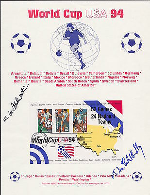 Signed Senator Lautenberg /governor Whitman First Day Issue Stamp World Cup 1994