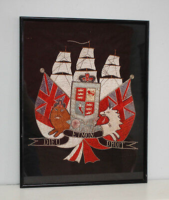 A Fine Antique c19th Naval Embroidery Royal Coat of Arms, Silk & Gilt Thread