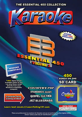 Chartbuster Essential 450 Karaoke Songs Vol 3 SD Card or USB CDG Music 4 PLAYER