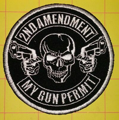 2Nd Amendment My Gun Permit Motorcycle Biker Embroiderd Vest Patch Iron On White