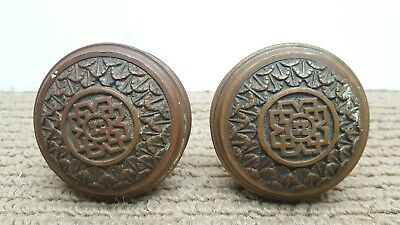 Pair Antique Vtg Victorian ~ Deco Matching Door Knobs Heavy Brass/bronze