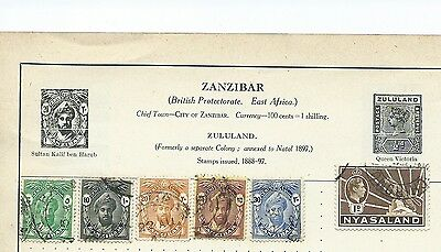 African Stamps, Used And Hinged Onto Paper