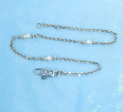 Vintage Sterling Handcrafted Ankle Chain  Pearls, Awesome Clasp Konder #253